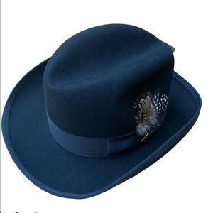 STACY ADAMS Fedora Hat BLACK WOOL lined Small NEW